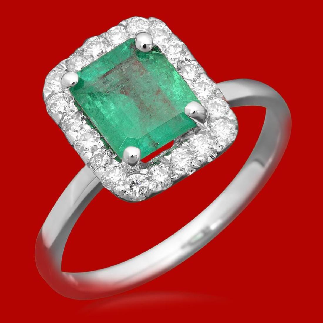 14k Gold 1.20ct Emerald 0.52ct Diamond Ring