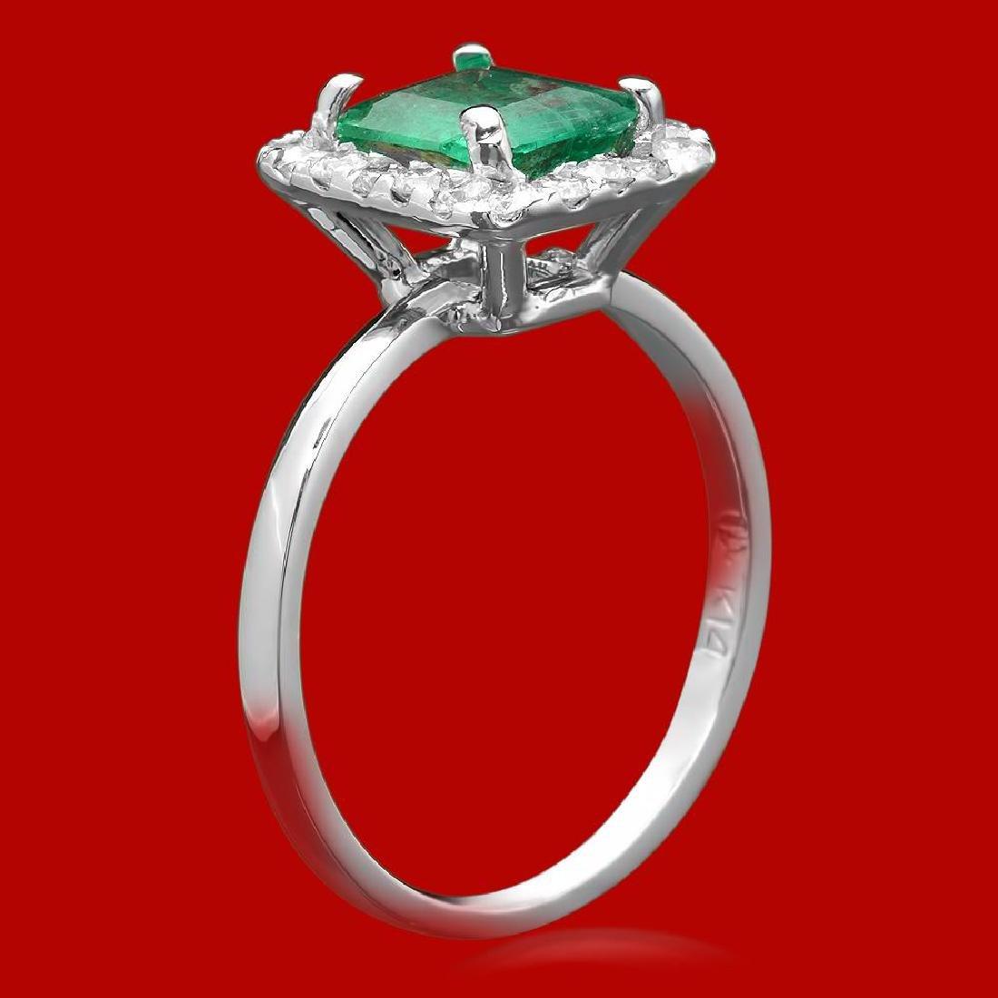 14k Gold 1.20ct Emerald 0.52ct Diamond Ring - 2