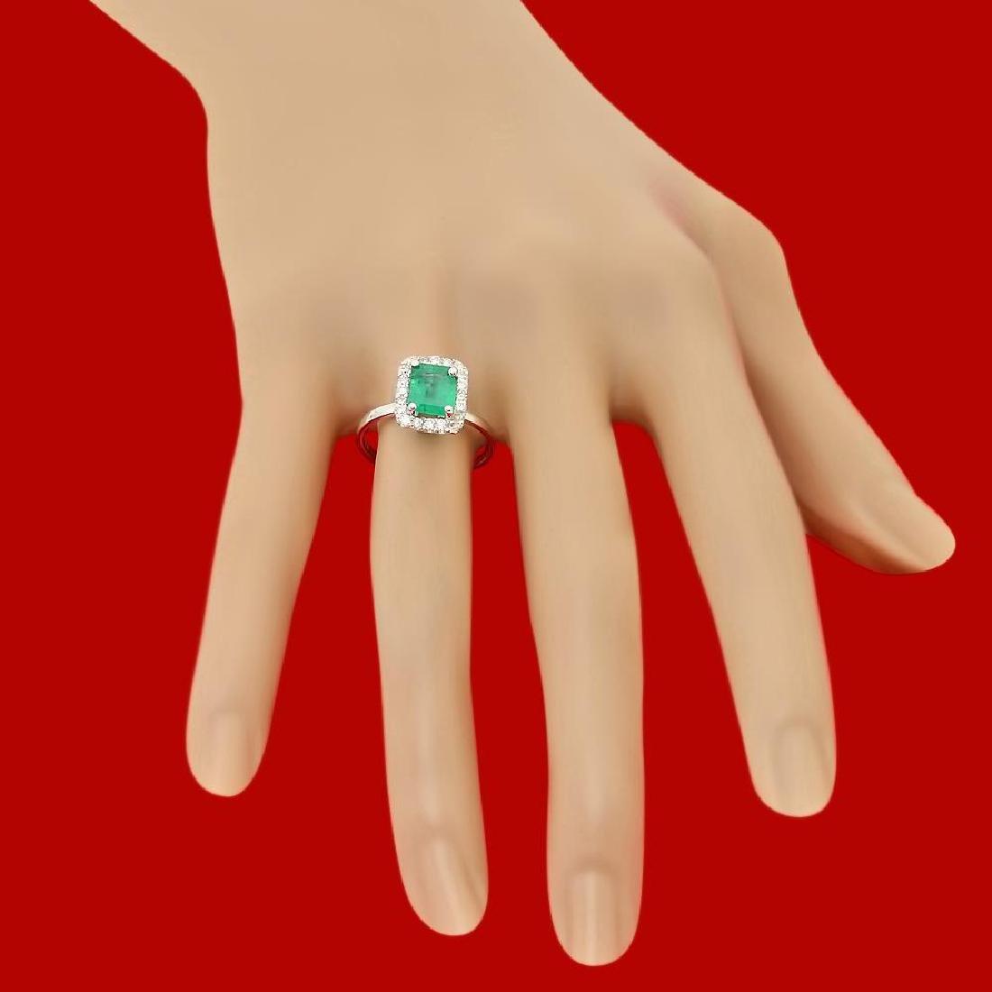 14k Gold 1.20ct Emerald 0.52ct Diamond Ring - 3
