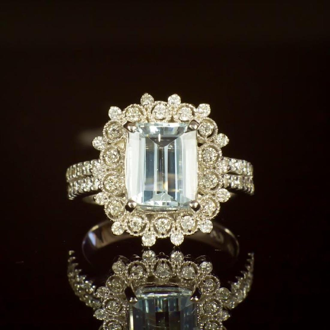 14K Gold 2.42ct Aquamarine 0.79ct Diamond Ring