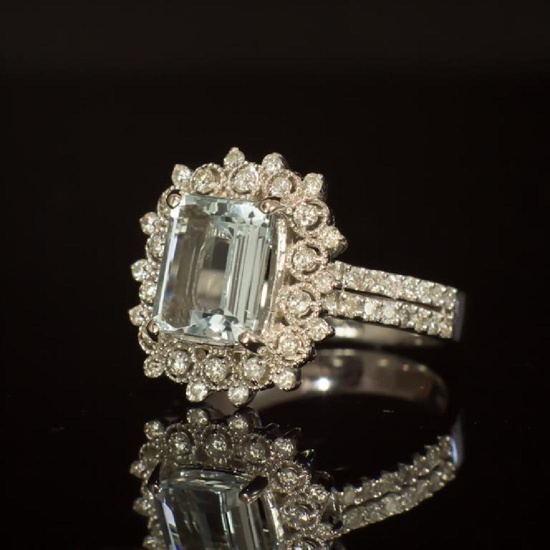 14K Gold 2.42ct Aquamarine 0.79ct Diamond Ring - 2