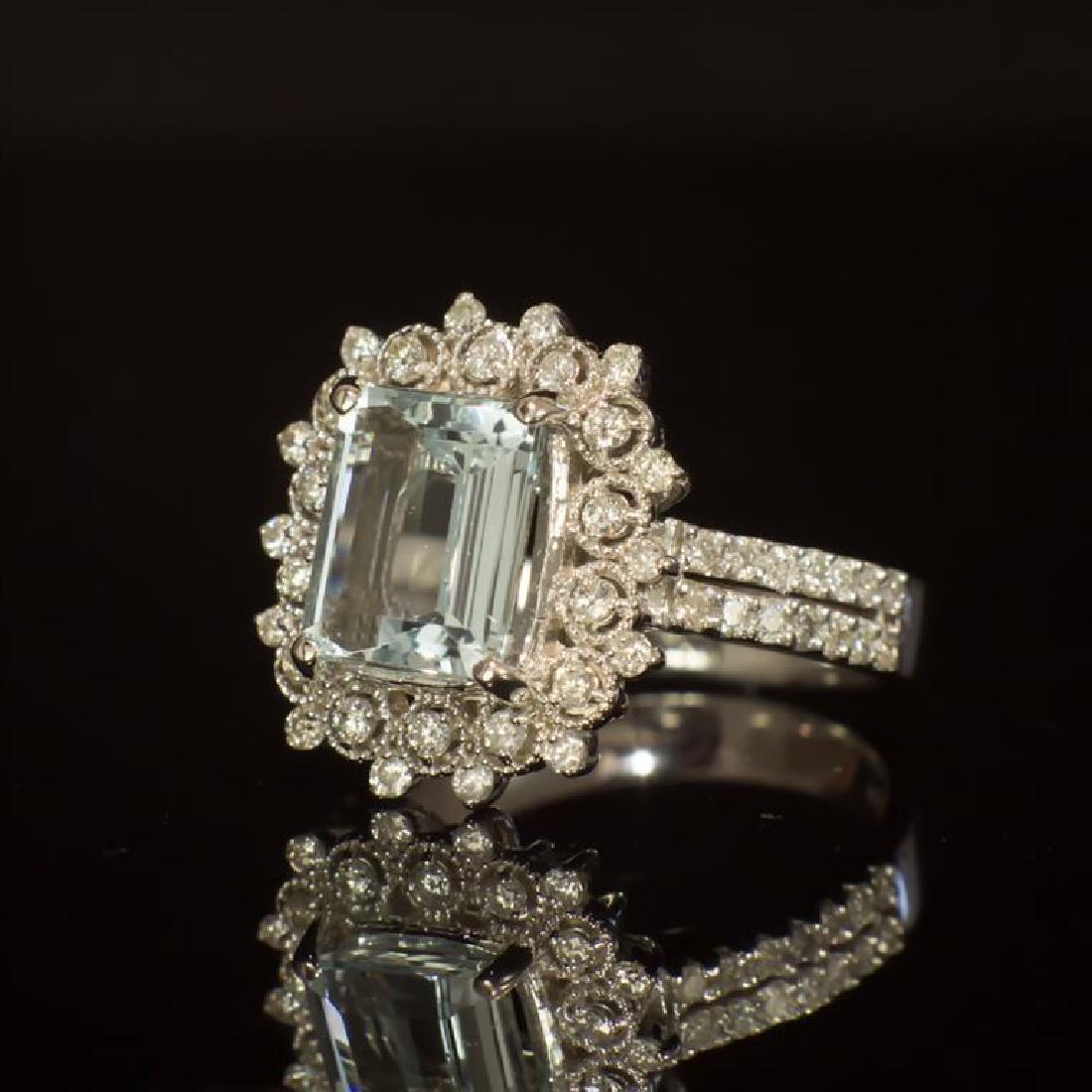 14K Gold 2.42ct Aquamarine 0.79ct Diamond Ring - 2
