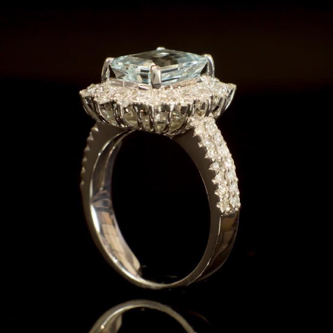 14K Gold 2.42ct Aquamarine 0.79ct Diamond Ring - 3