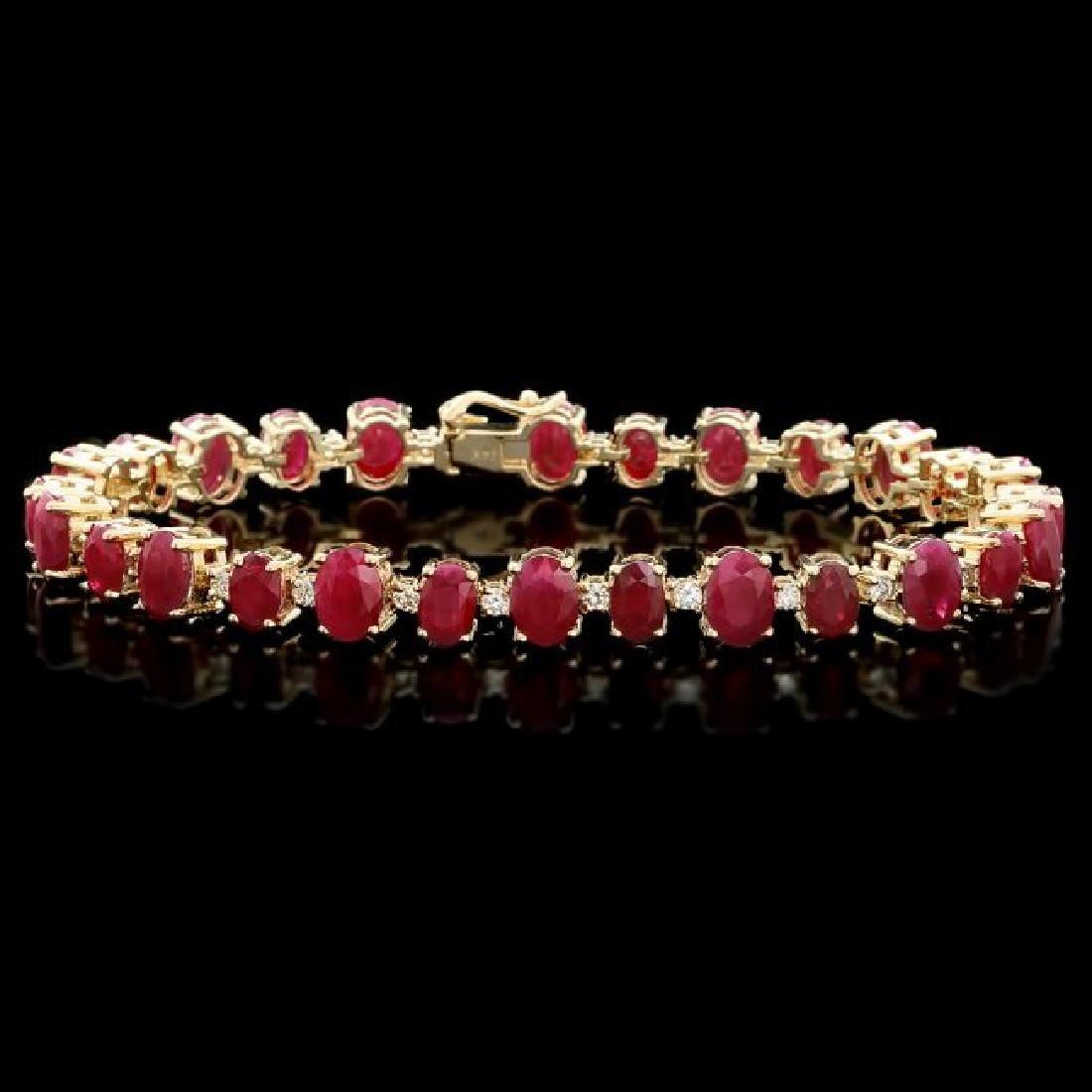 14k Gold 23.00ct Ruby 1.00ct Diamond Bracelet