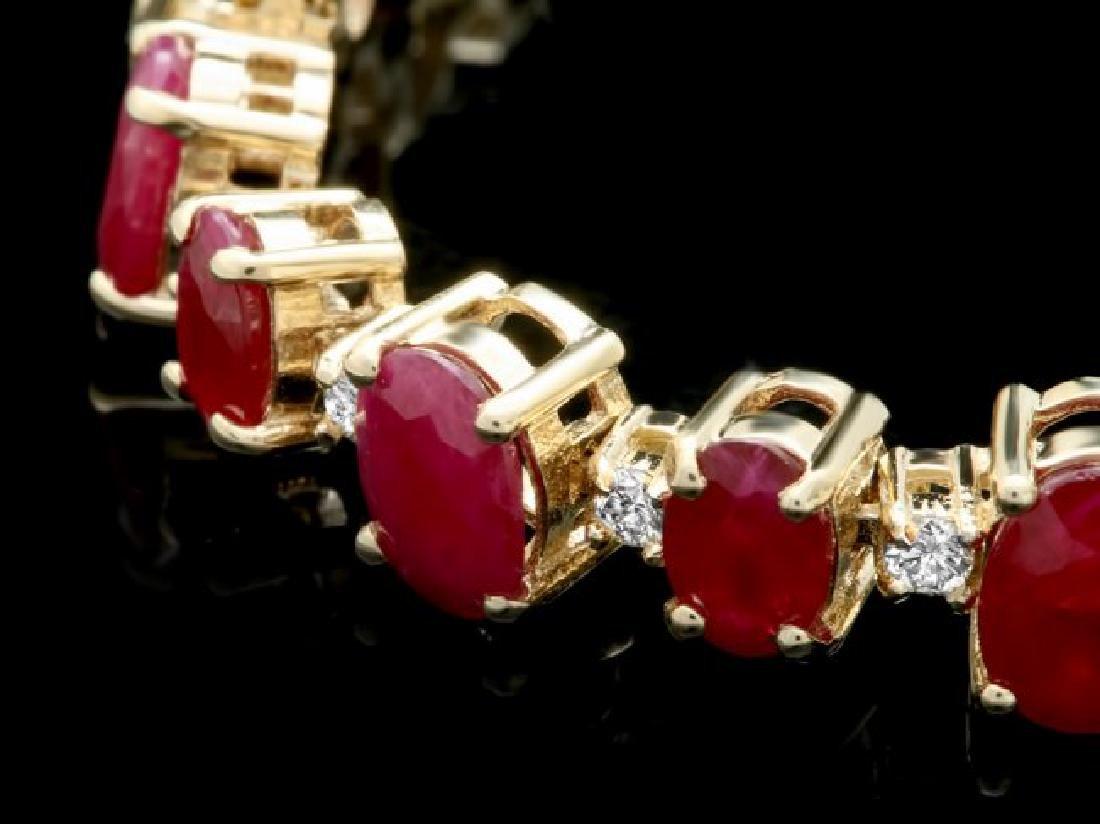 14k Gold 23.00ct Ruby 1.00ct Diamond Bracelet - 2