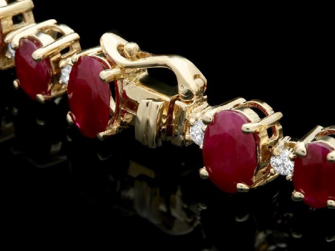 14k Gold 23.00ct Ruby 1.00ct Diamond Bracelet - 3