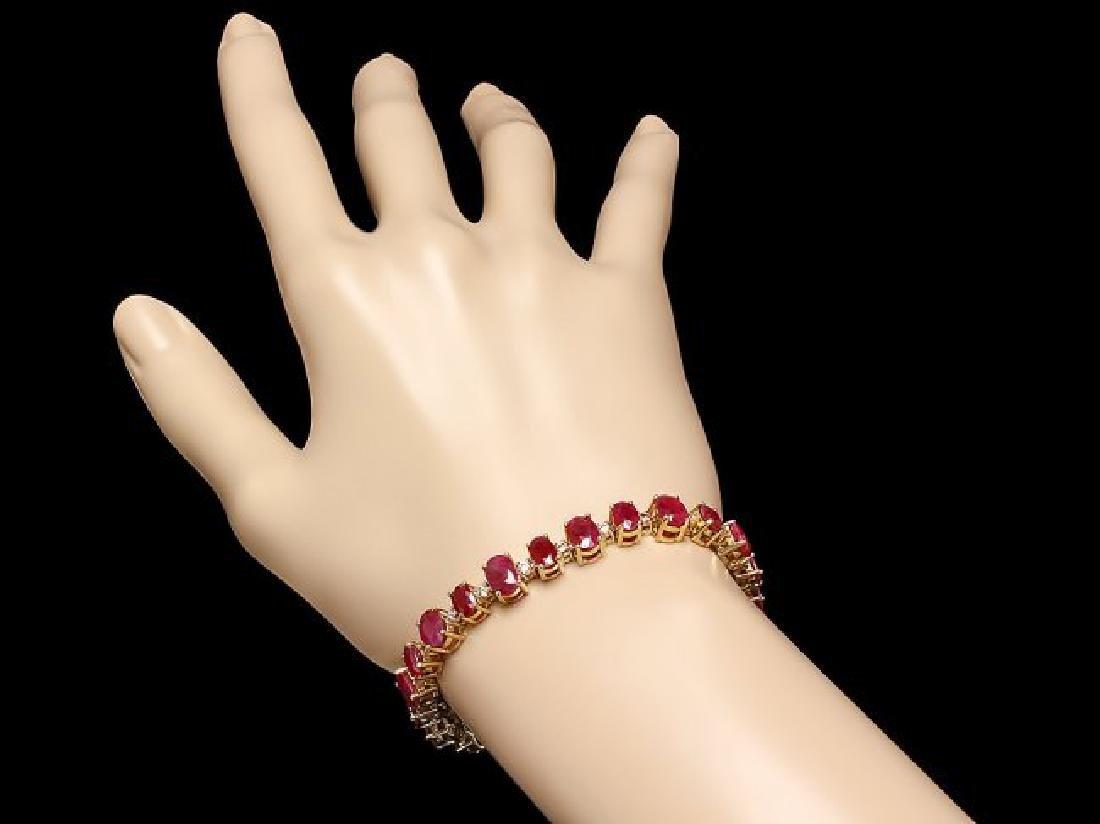 14k Gold 23.00ct Ruby 1.00ct Diamond Bracelet - 4