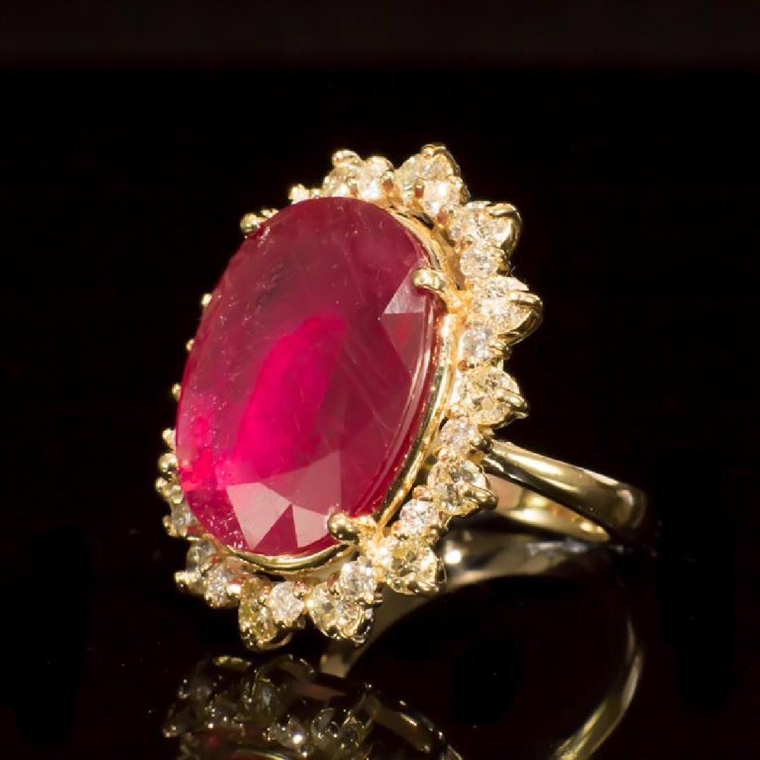 14K Gold 14.81ct Ruby 2.10ct Diamond Ring - 2