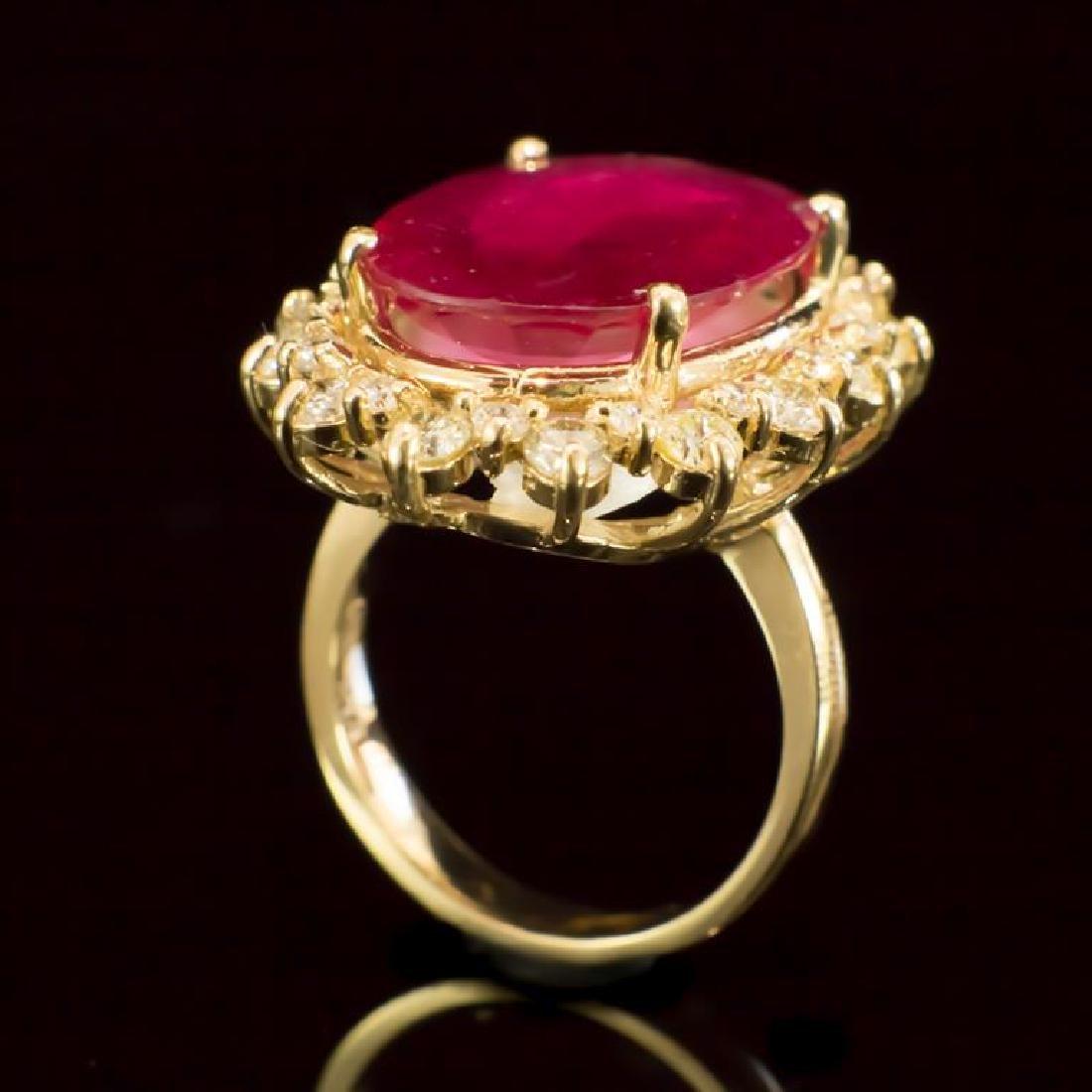 14K Gold 14.81ct Ruby 2.10ct Diamond Ring - 3