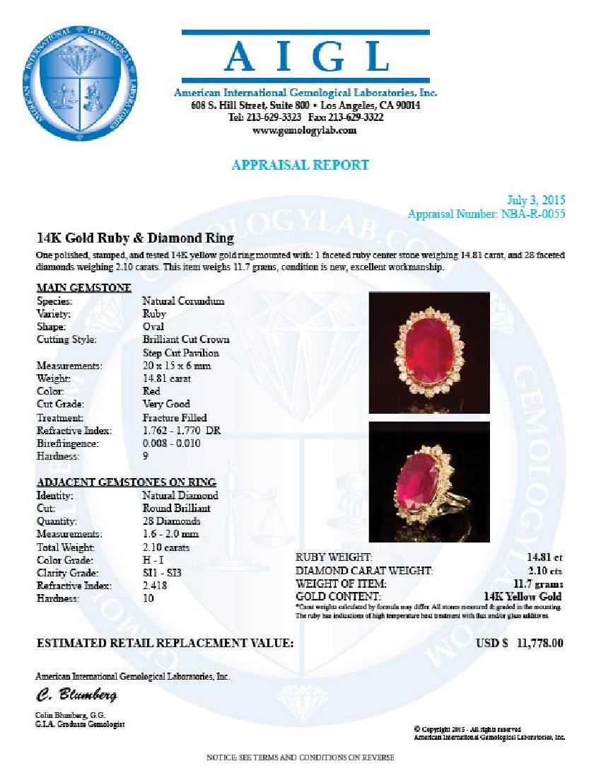 14K Gold 14.81ct Ruby 2.10ct Diamond Ring - 4