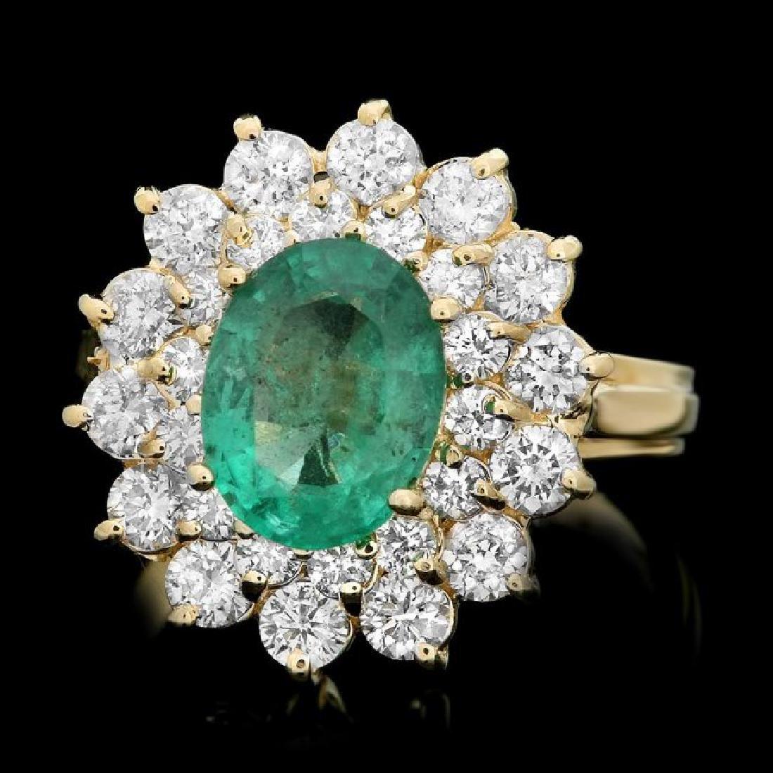14k Gold 1.50ct Emerald 1.35ct Diamond Ring