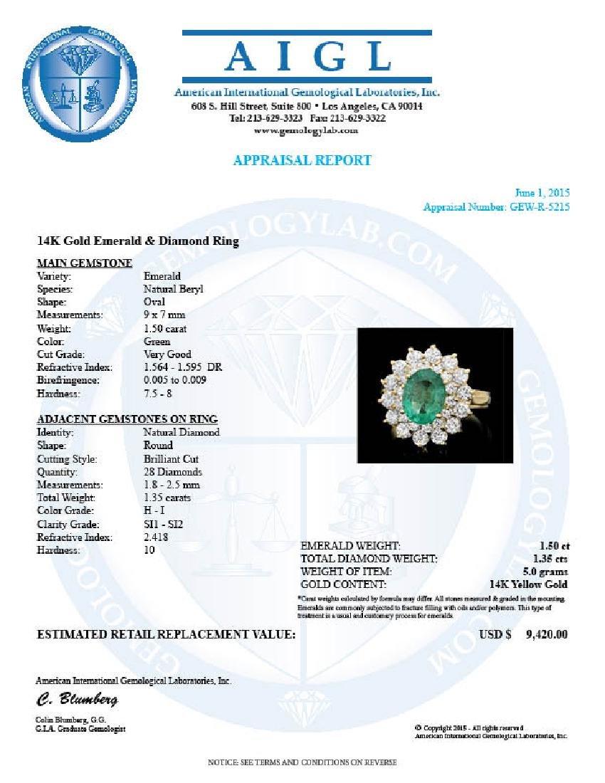 14k Gold 1.50ct Emerald 1.35ct Diamond Ring - 4
