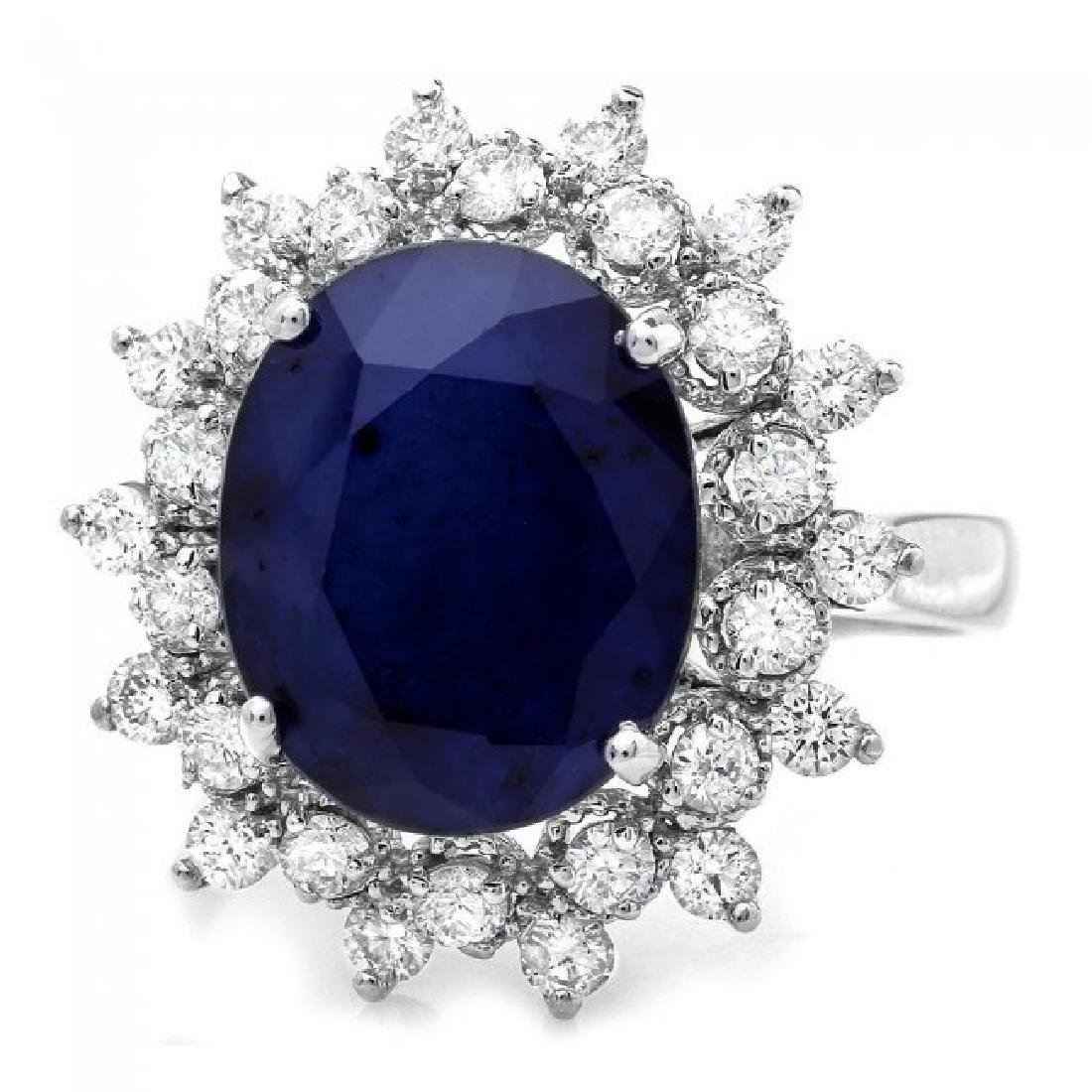 14k Gold 6.50ct Sapphire 0.90ct Diamond Ring - 2