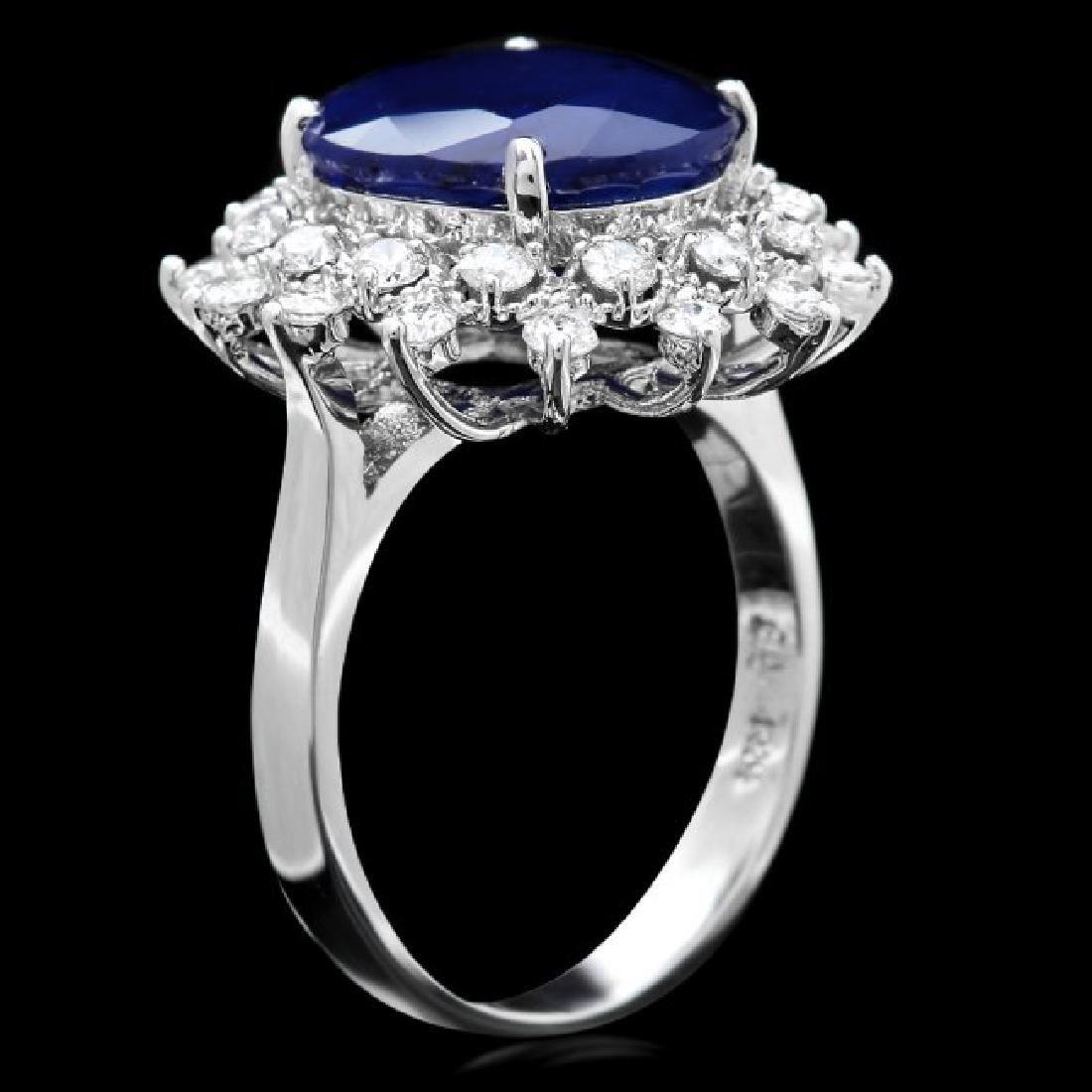 14k Gold 6.50ct Sapphire 0.90ct Diamond Ring - 3