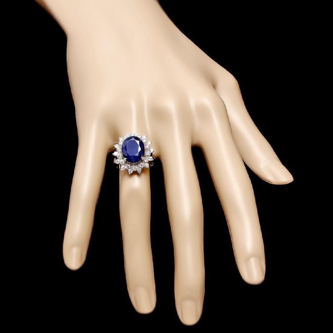 14k Gold 6.50ct Sapphire 0.90ct Diamond Ring - 4
