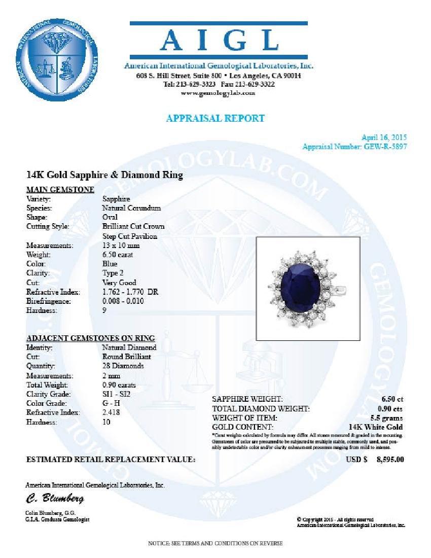 14k Gold 6.50ct Sapphire 0.90ct Diamond Ring - 5