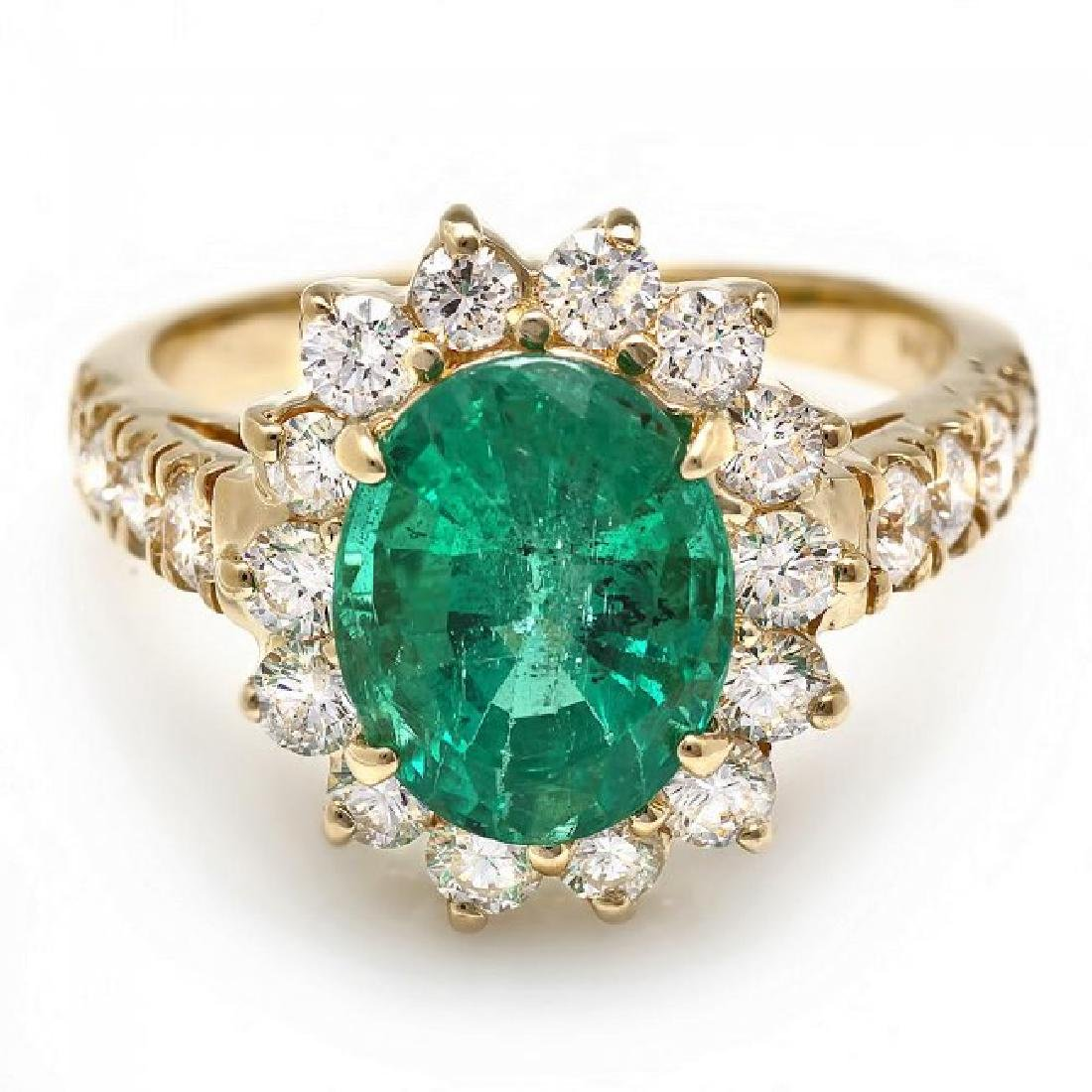 14k Gold 2.65ct Emerald 1.10ct Diamond Ring - 2