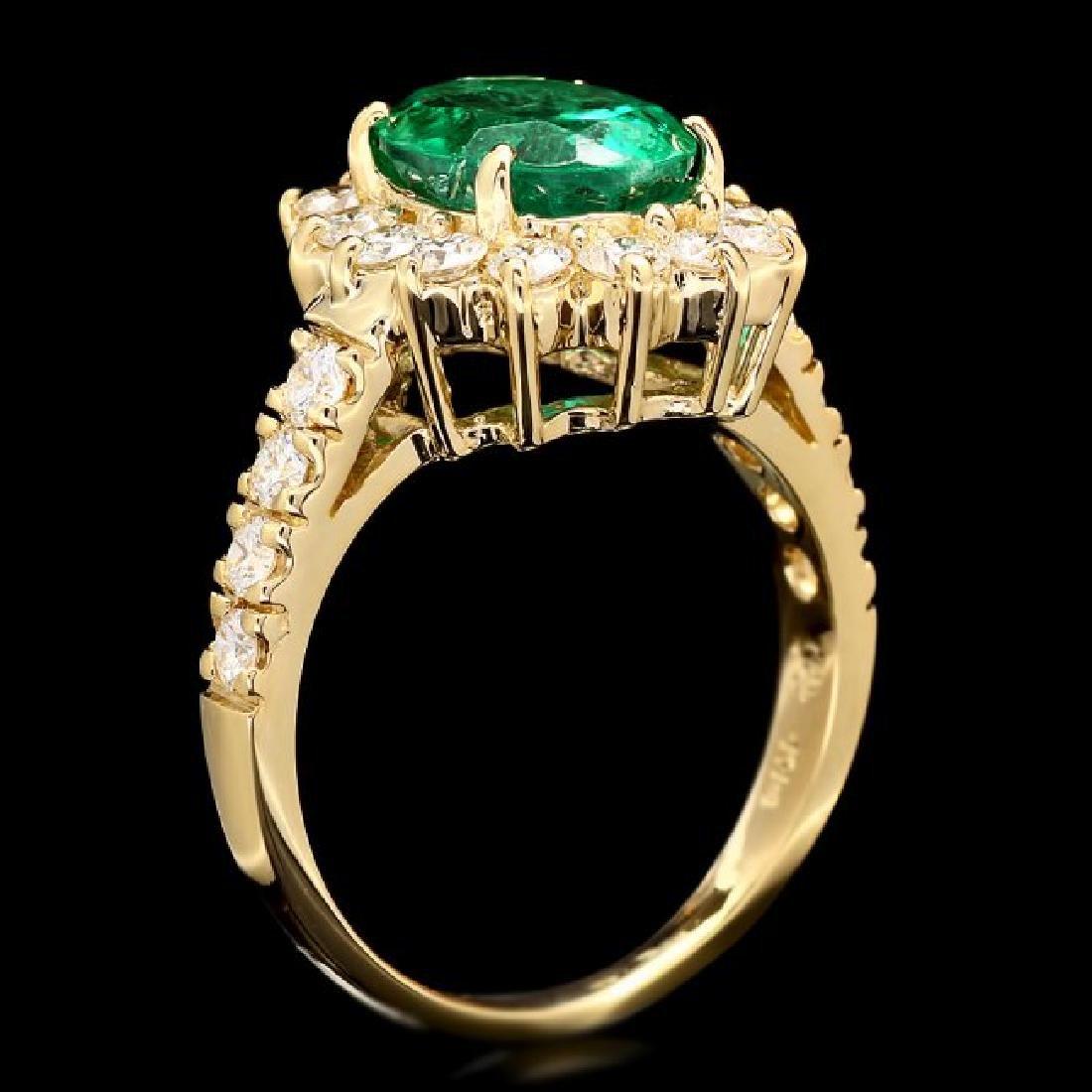 14k Gold 2.65ct Emerald 1.10ct Diamond Ring - 3