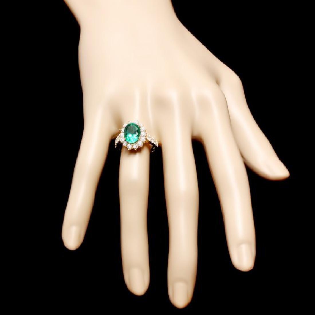 14k Gold 2.65ct Emerald 1.10ct Diamond Ring - 4