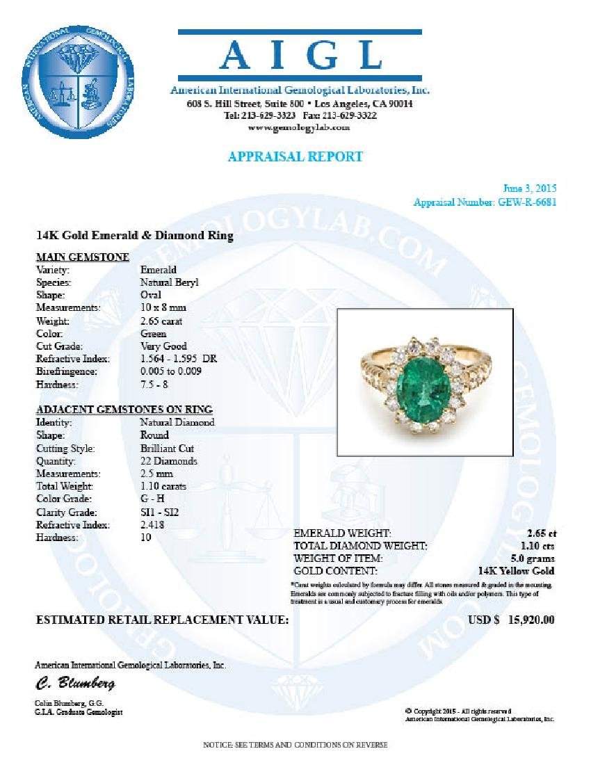 14k Gold 2.65ct Emerald 1.10ct Diamond Ring - 5