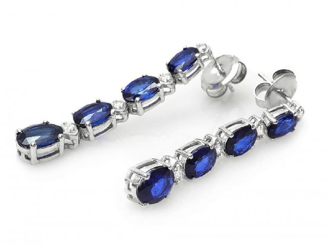 14k Gold 7ct Sapphire 0.35ct Diamond Earrings - 2