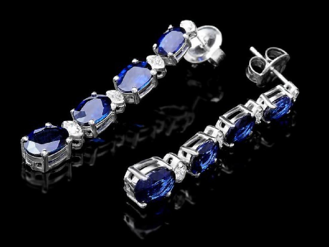 14k Gold 7ct Sapphire 0.35ct Diamond Earrings - 3