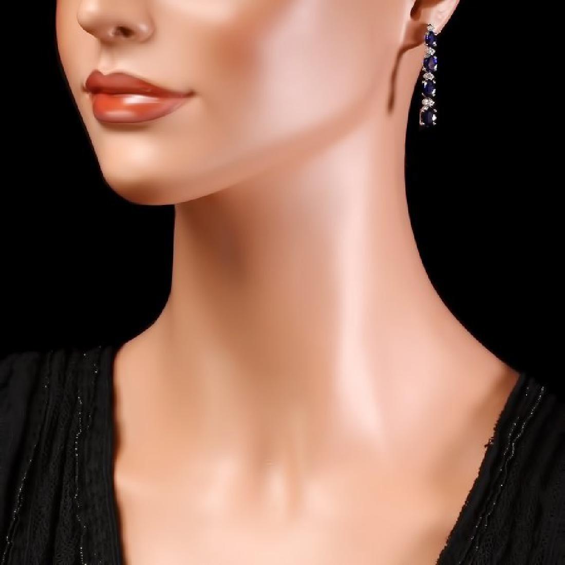 14k Gold 7ct Sapphire 0.35ct Diamond Earrings - 4