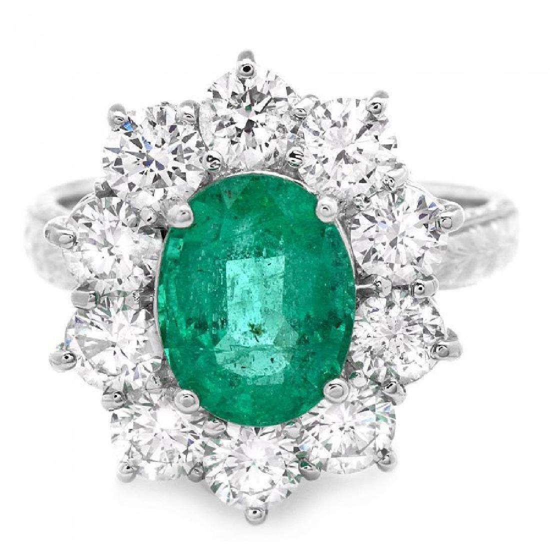 18k White Gold 2.40ct Emerald 2.15ct Diamond Ring - 2