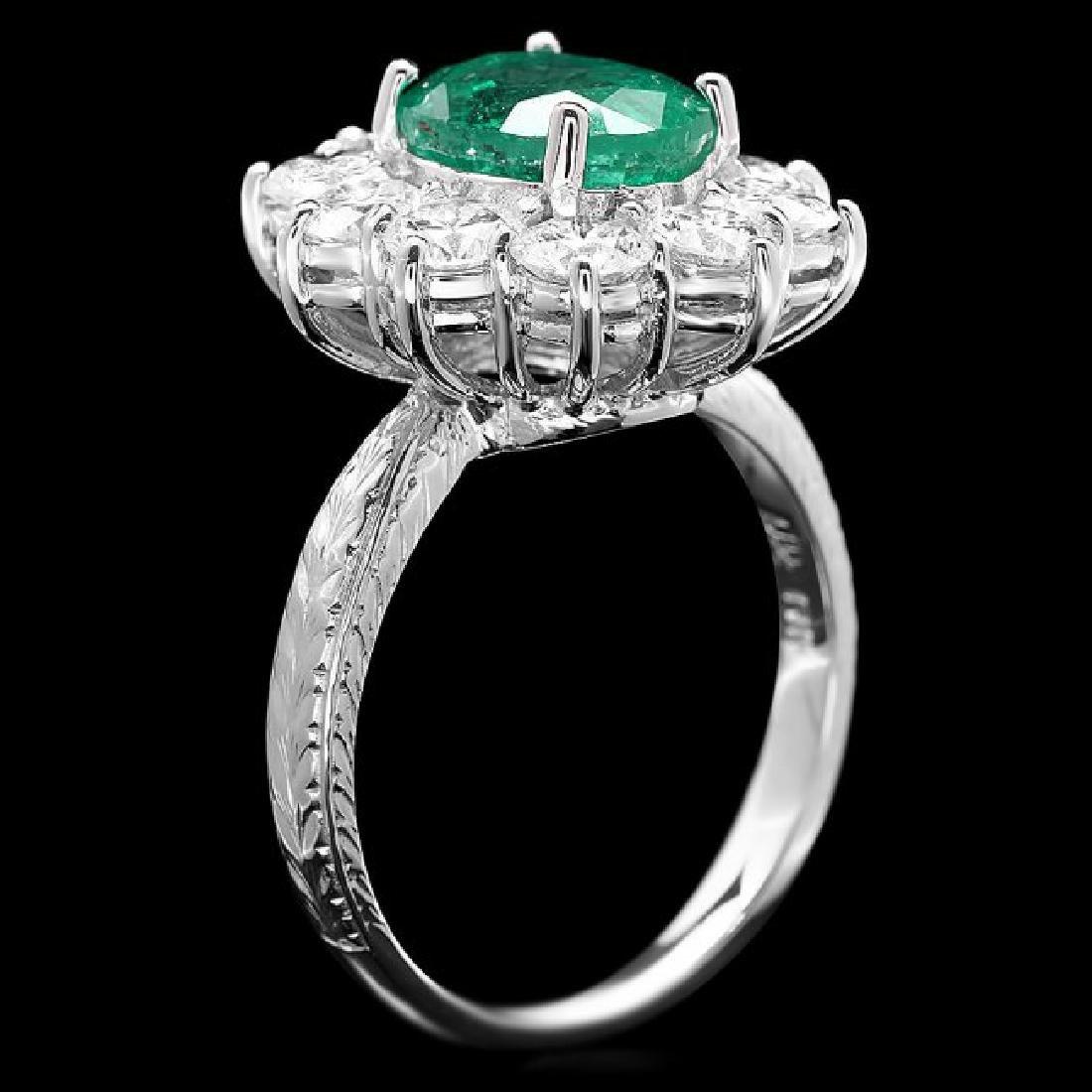 18k White Gold 2.40ct Emerald 2.15ct Diamond Ring - 3