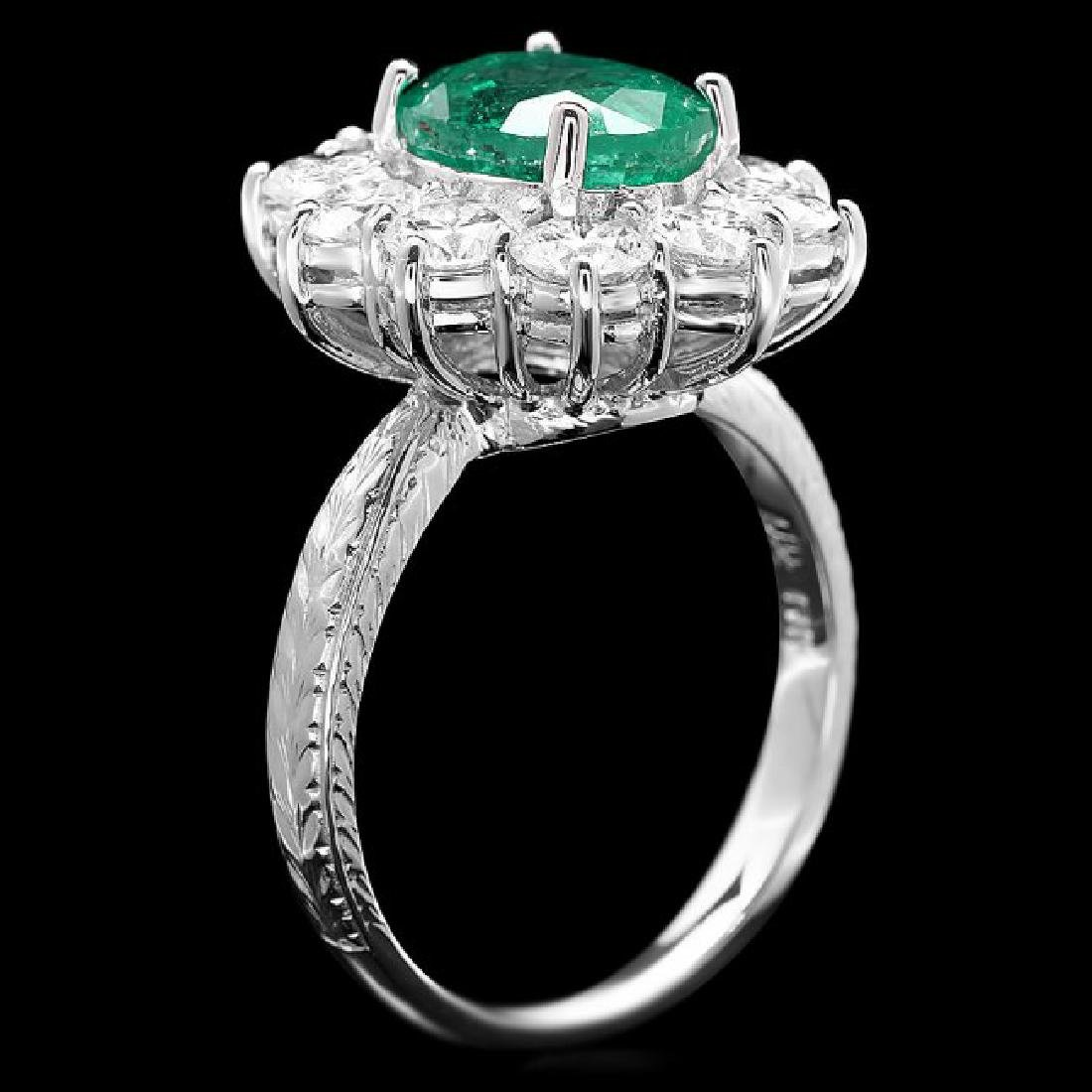 18k White Gold 2.40ct Emerald 2.15ct Diamond Ring - 3