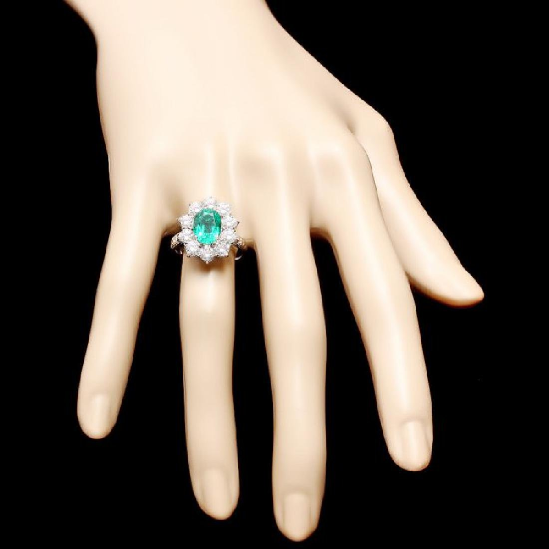 18k White Gold 2.40ct Emerald 2.15ct Diamond Ring - 4