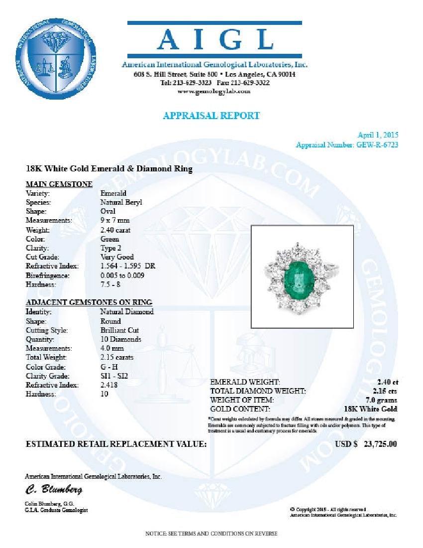 18k White Gold 2.40ct Emerald 2.15ct Diamond Ring - 5
