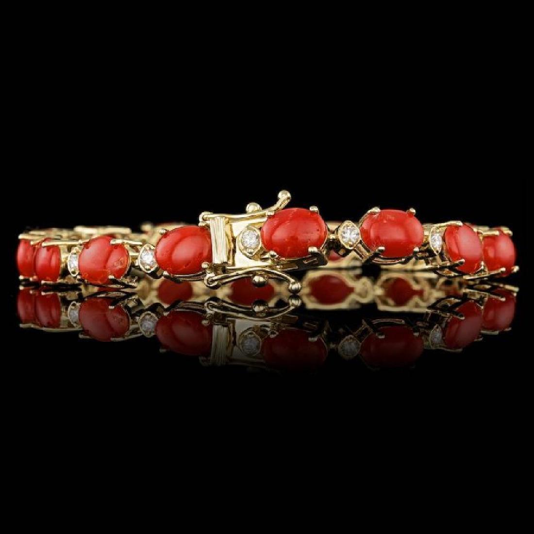 14k Gold 15.00ct Coral 0.80ct Diamond Bracelet - 2