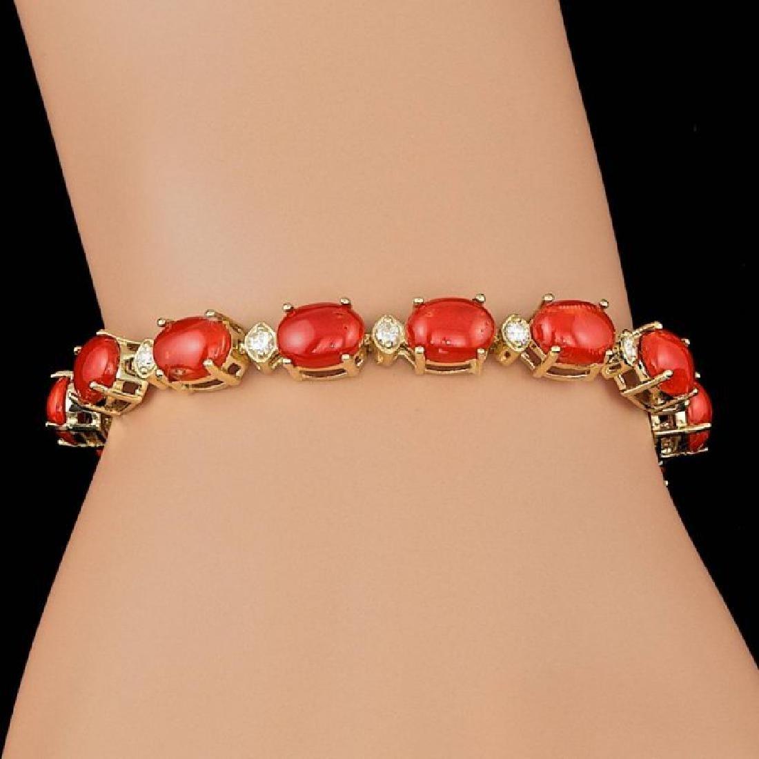 14k Gold 15.00ct Coral 0.80ct Diamond Bracelet - 4