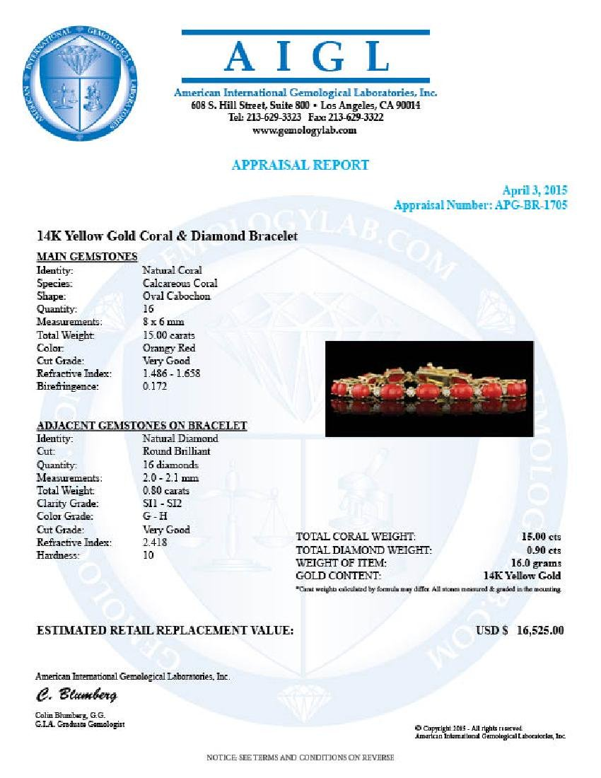 14k Gold 15.00ct Coral 0.80ct Diamond Bracelet - 6