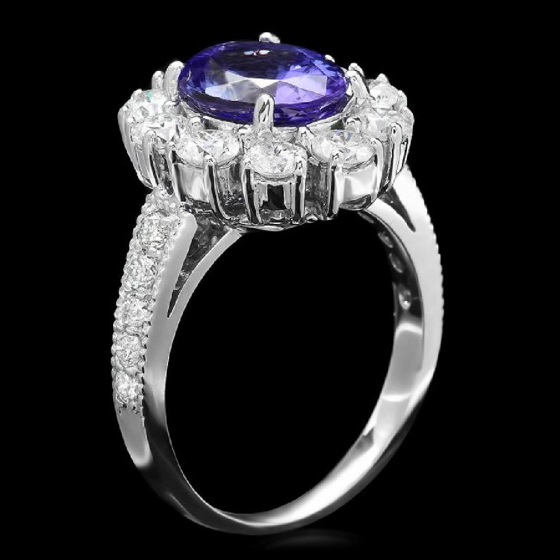 14k Gold 2.60ct Tanzanite 1.60ct Diamond Ring - 2