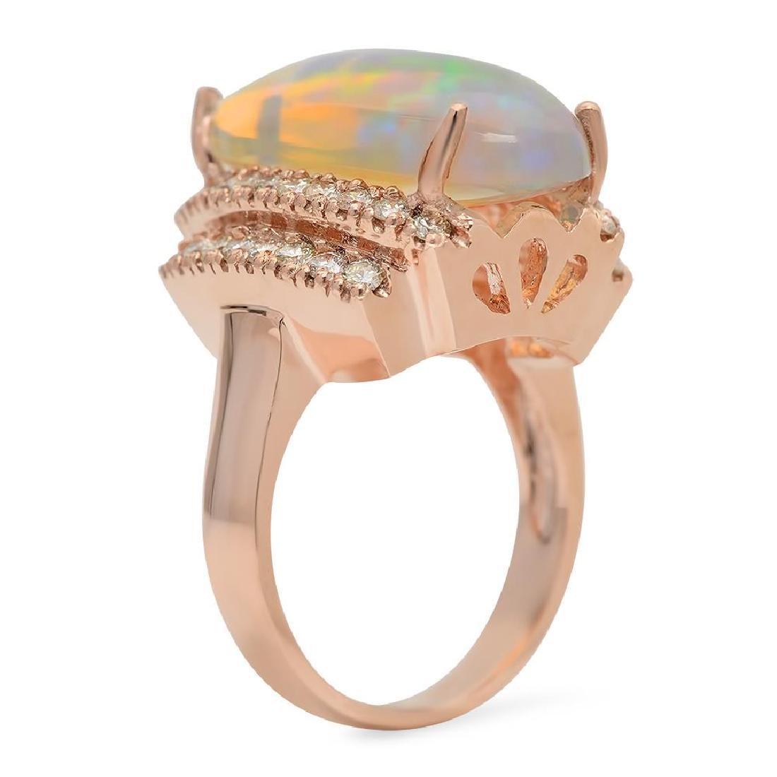 14K Gold 8.81ct Opal 1.10ct Diamond Ring - 2