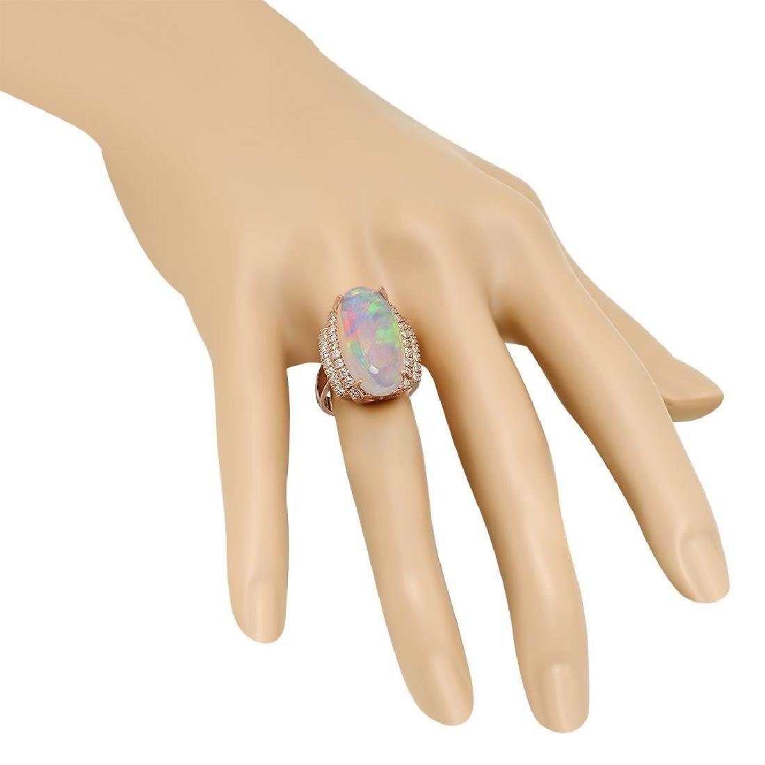 14K Gold 8.81ct Opal 1.10ct Diamond Ring - 3
