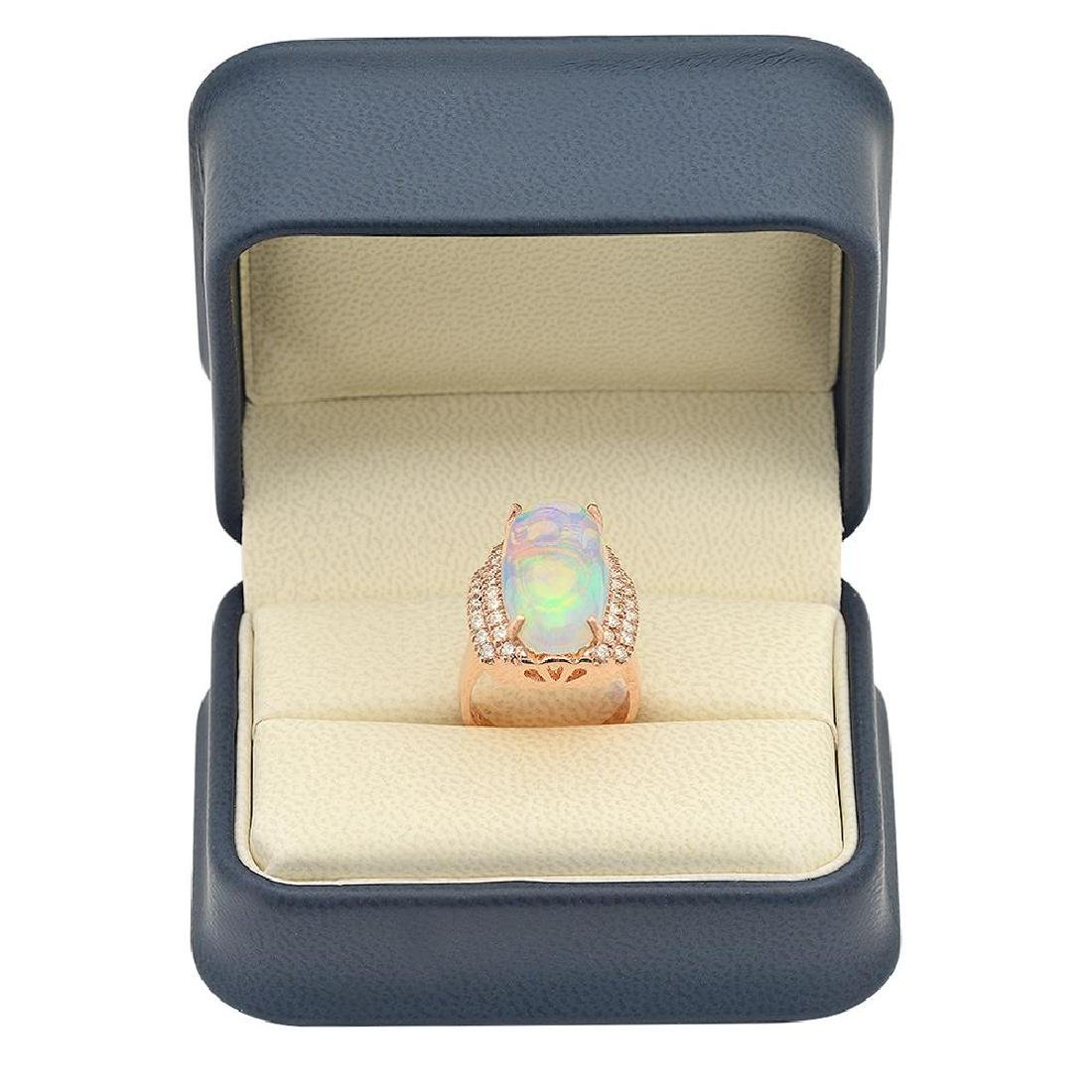 14K Gold 8.81ct Opal 1.10ct Diamond Ring - 4