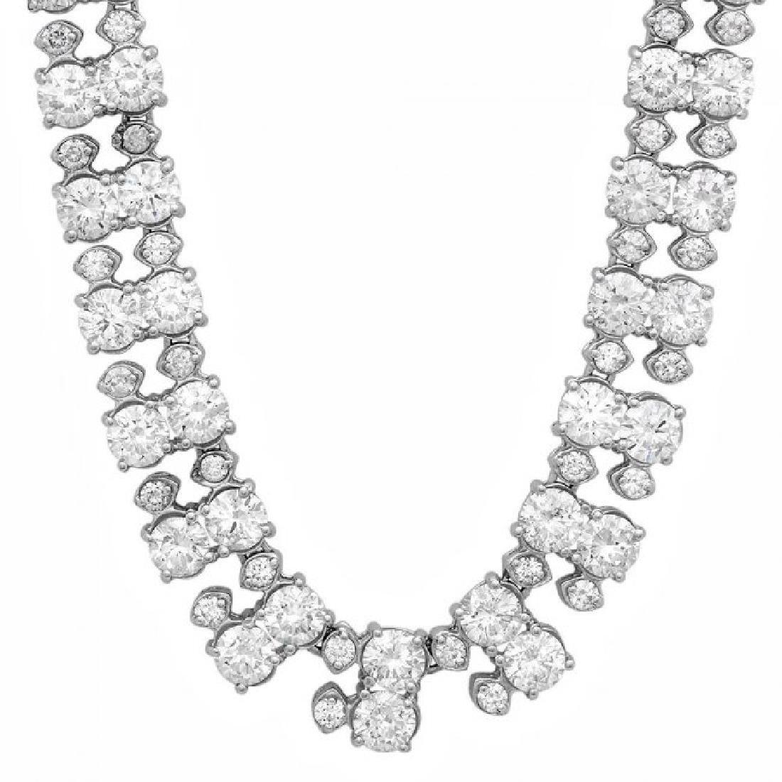 18k White Gold 24ct Diamond Necklace - 2