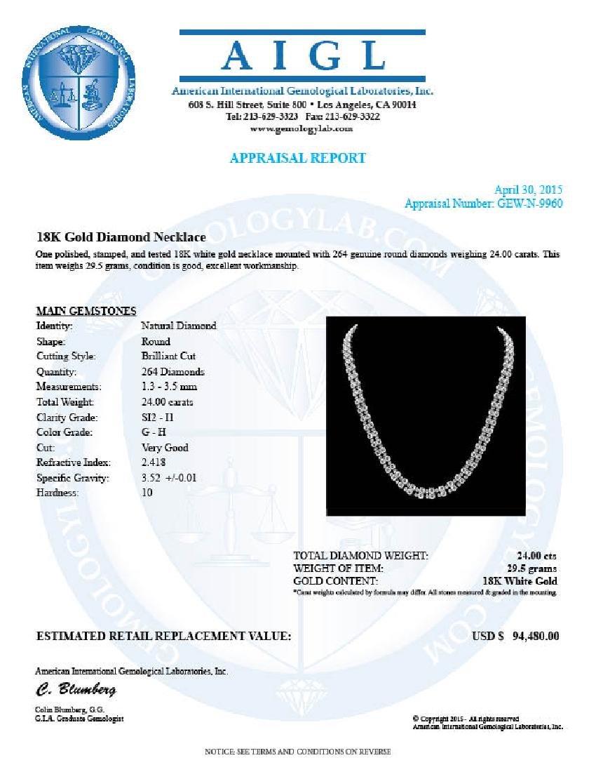 18k White Gold 24ct Diamond Necklace - 7