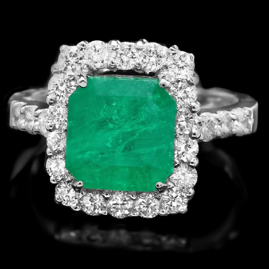 14k White Gold 3.70ct Emerald 1.10ct Diamond Ring