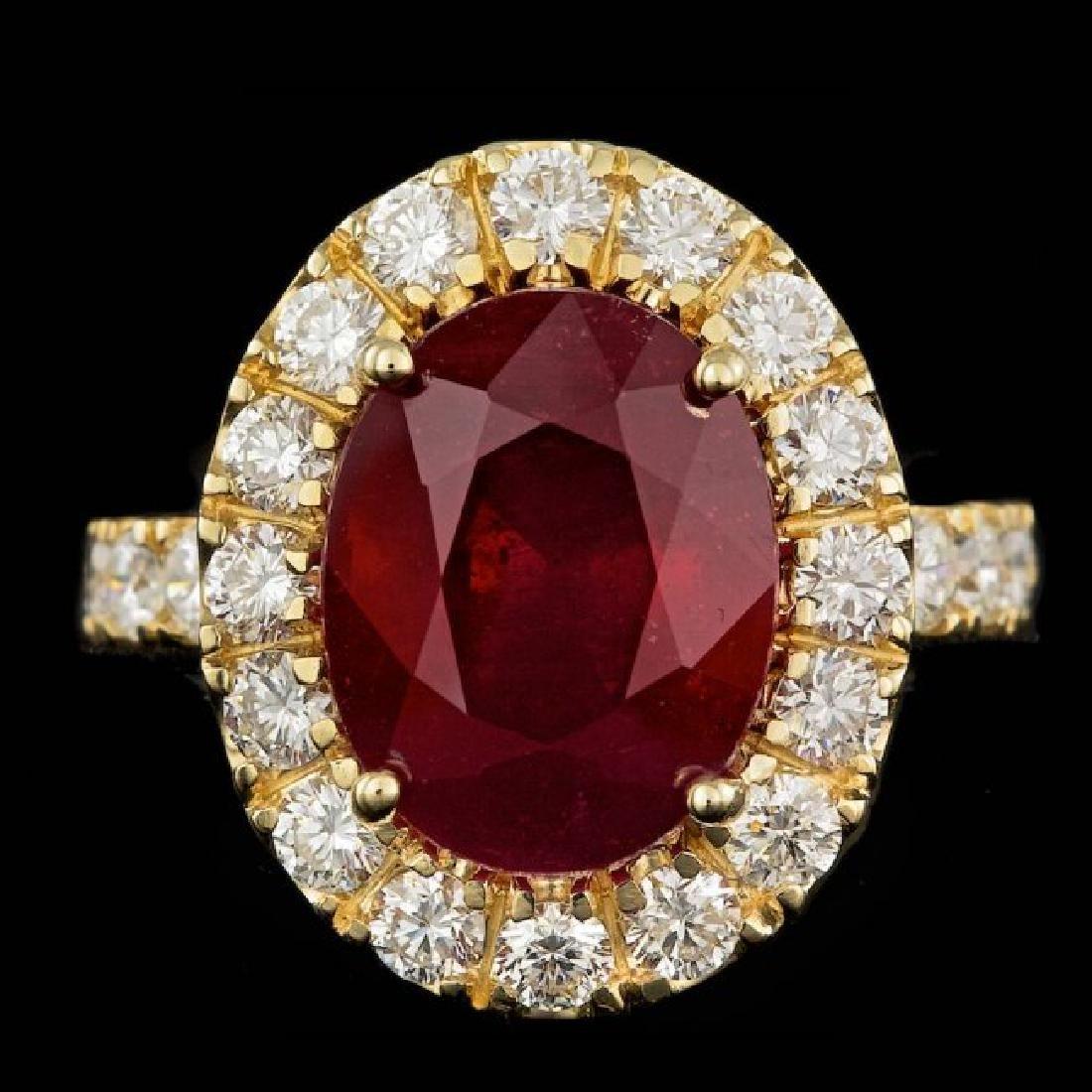 14k Yellow Gold 7.50ct Ruby 1.70ct Diamond Ring