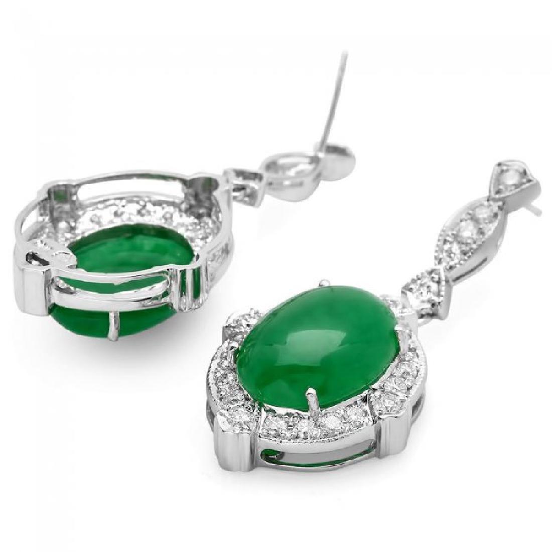 14k Gold 13.00ct Jade 1.75ct Diamond Earrings