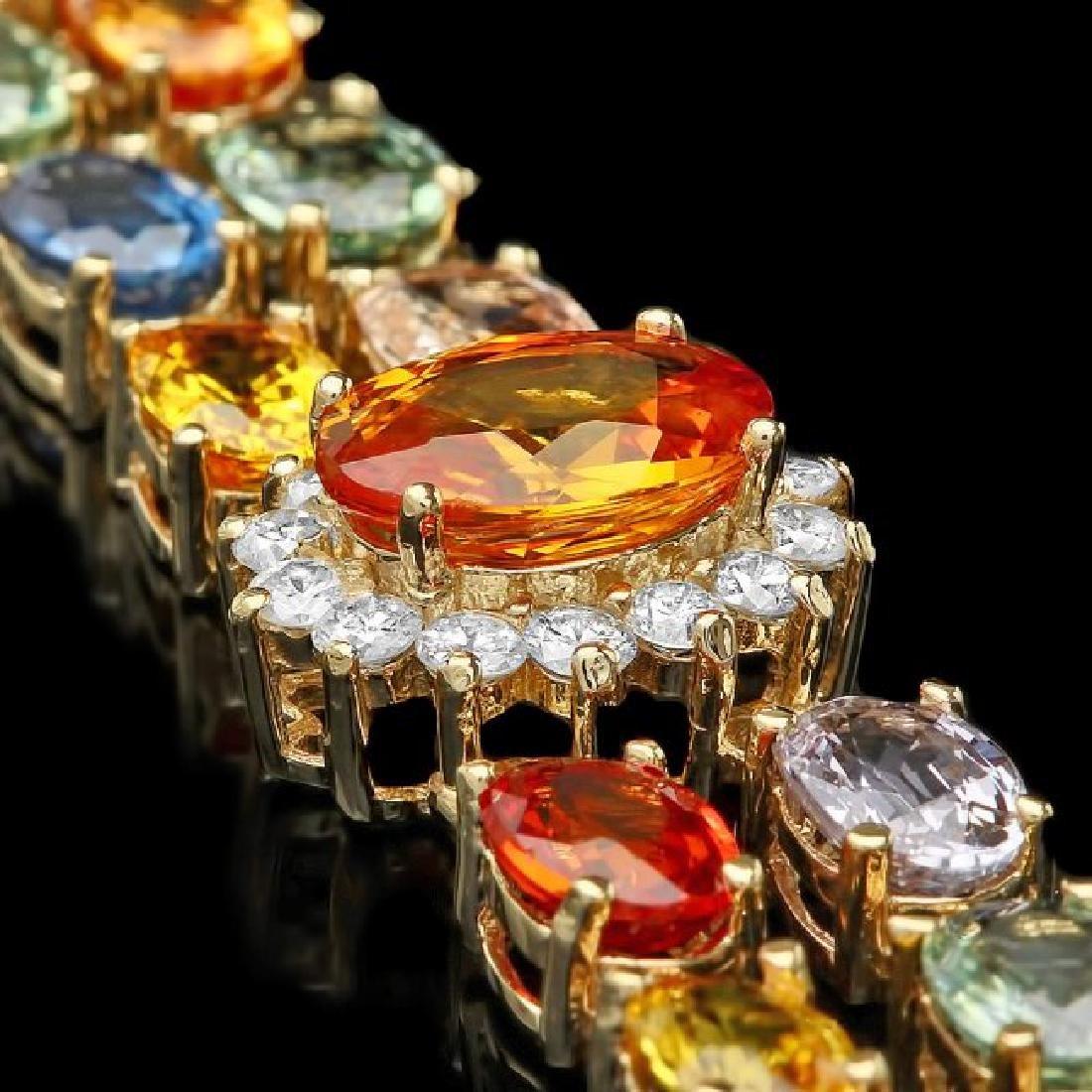 14k Gold 26.81ct Sapphire 1.50ct Diamond Bracelet