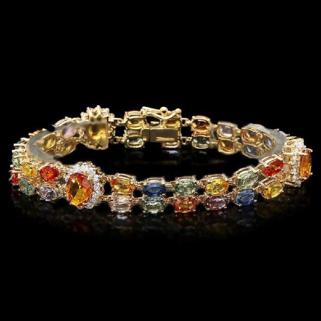 14k Gold 26.81ct Sapphire 1.50ct Diamond Bracelet - 2