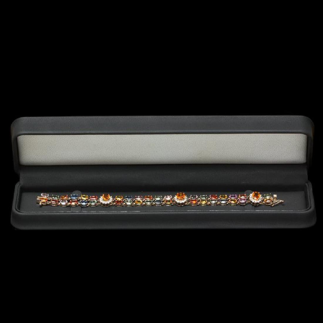 14k Gold 26.81ct Sapphire 1.50ct Diamond Bracelet - 4
