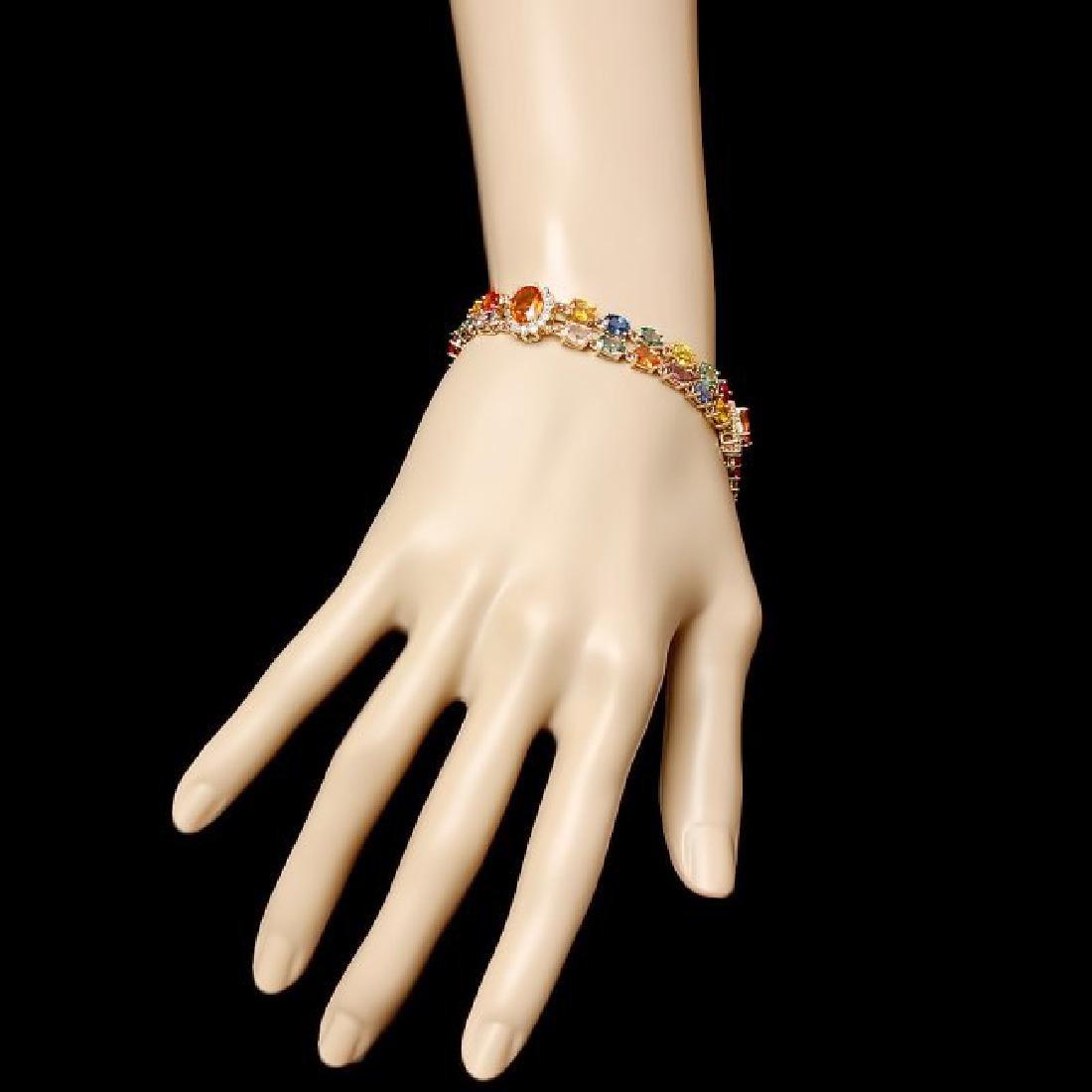 14k Gold 26.81ct Sapphire 1.50ct Diamond Bracelet - 5
