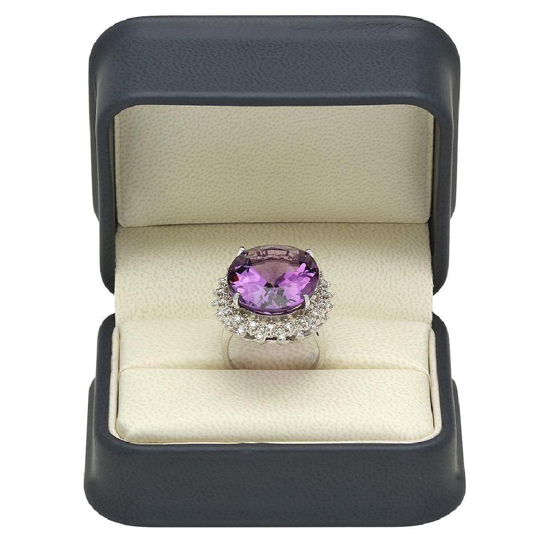 14K Gold 22.33ct Amethyst 0.90ct Diamond Ring - 4