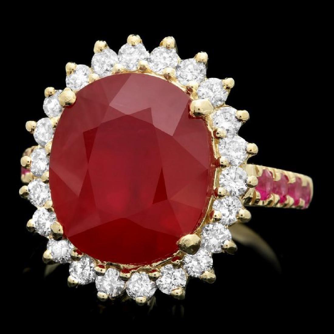 14k Yellow Gold 10.3ct Ruby 0.80ct Diamond Ring